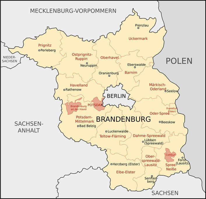 landkarte brandenburg Landkarte von Brandenburg, mit Landkreise landkarte brandenburg